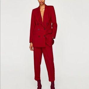 Zara Double Breasted Oversized Blazer Jacket Red